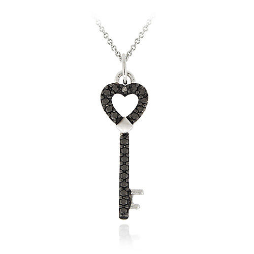 BLACK DIAMOND ACCENT HEART KEY NECKLACE