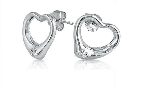 DIAMOND HEART SHAPED EARRINGS SET IN STERLING SILVER