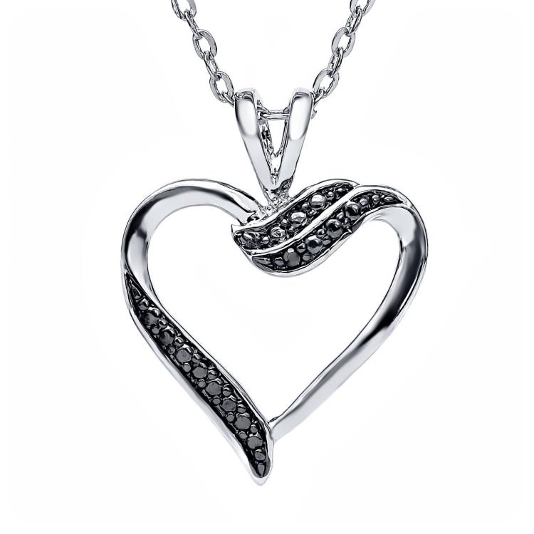 BLACK DIAMOND ACCENT HEART SHAPED PENDANT AND NECKLACE