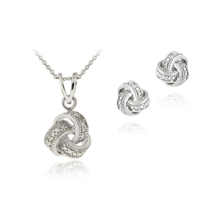 DIAMOND ACCENT LOVE KNOT NECKLACE & EARRING SET