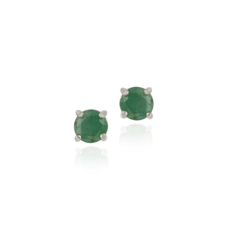 925 SILVER 1.6CT EMERALD ROUND STUD EARRINGS