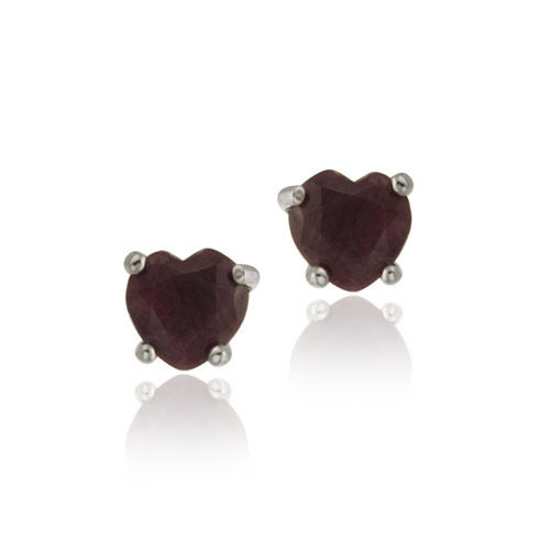 925 SILVER 1.04CT RUBY HEART STUD EARRINGS