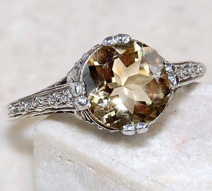 2CT NATURAL CITRINE .925 STERLING SILVER VICTORIAN STYLE FILIGREE RING - SIZE 8