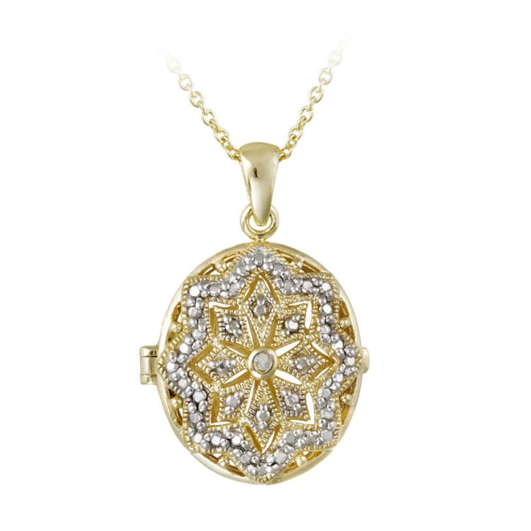 DIAMOND ACCENT OVAL LOCKET NECKLACE