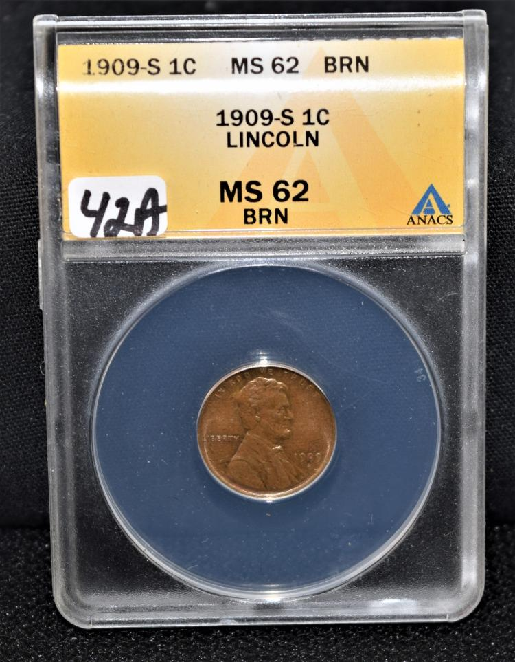SCARCE 1909-S LINCOLN CENT - ANACS MS62 BN