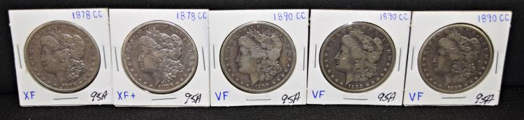 FIVE SCARCE CARSON CITY MORGAN DOLLARS - TWO 1878-CC AND THREE 1890-CC MORGAN DOLLARS