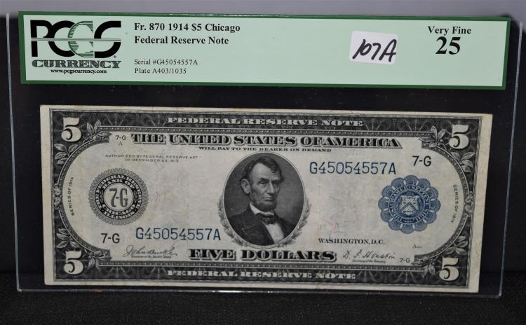 $5 FEDERAL RESERVE NOTE - LARGE SIZE - SERIES 1914 - PCGS VF25