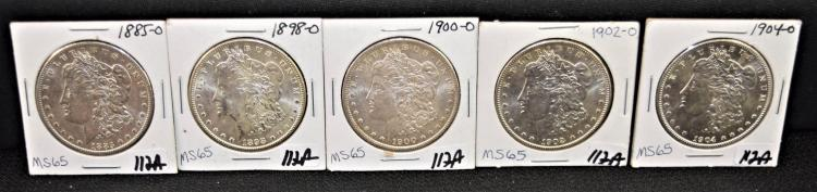 FIVE HIGH GRADE NEW ORLEANS MINT MORGAN DOLLARS FROM SAFE DEPOSIT - 1885-0, 1898-0, 1900-0, 1902-0, 1904-0