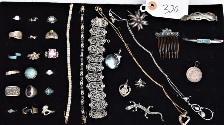 31 PIECES OF VINTAGE STERLING SILVER JEWELRY - BRACELETS, NECKLACES, PINS, PENDANTS, RINGS ETC