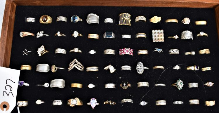 72 VINTAGE COSTUME RINGS FROM HER DRESSER
