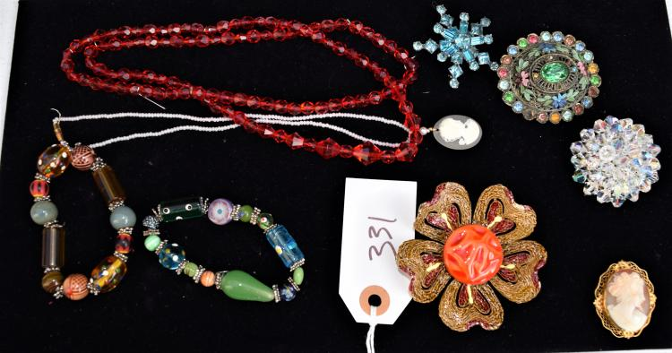 LADIES VINTAGE COSTUME JEWELRY FROM HER DRESSER - NECKLACES, BRACELETS, BROOCHES ETC