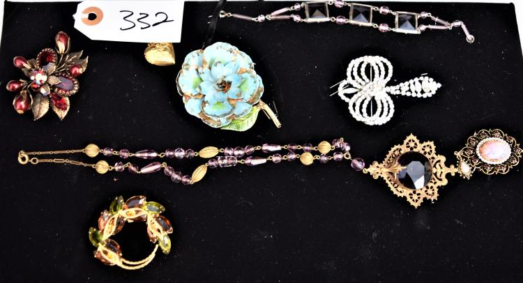 LADIES VINTAGE & ANTIQUE JEWELRY FROM HER DRESSER - VICTORIAN NECKLACE, RHINESTONE BROOCH, BRACELET, BROOCHES ETC
