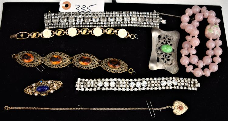 LADIES VINTAGE & ANTIQUE JEWELRY FROM HER DRESSER - BRACELETS, LOCKET PENDANT, BROOCH ETC