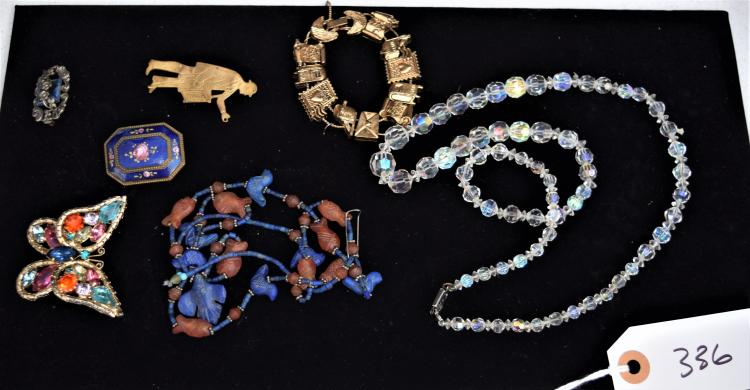 LADIES VINTAGE & ANTIQUE JEWELRY FROM HER DRESSER - NECKLACES, BROOCHES, PINS ETC