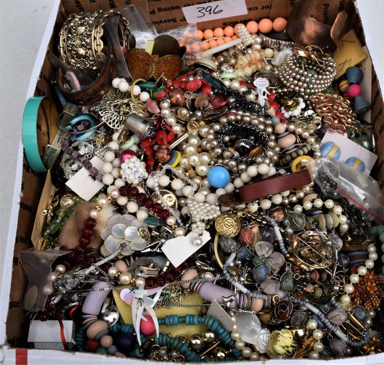 TRAY LOT OF COSTUME JEWELRY FROM DRESSER DRAWERS