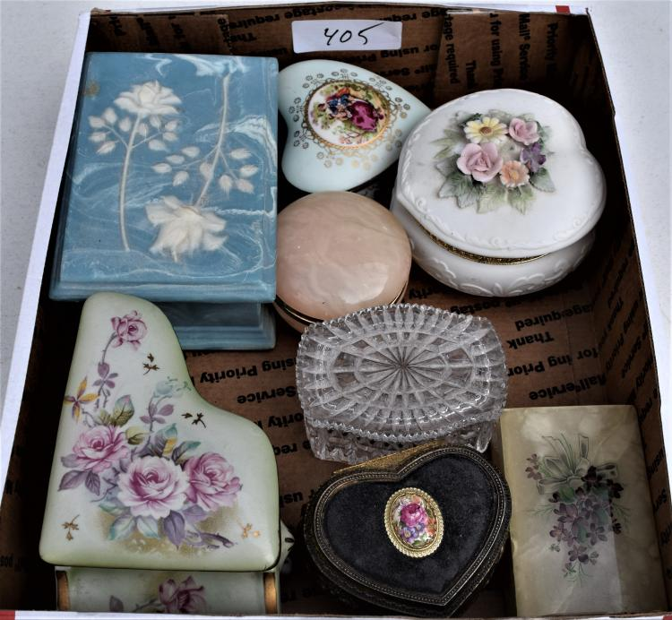 TRAY OF 8 JEWELRY AND DRESSER BOXES