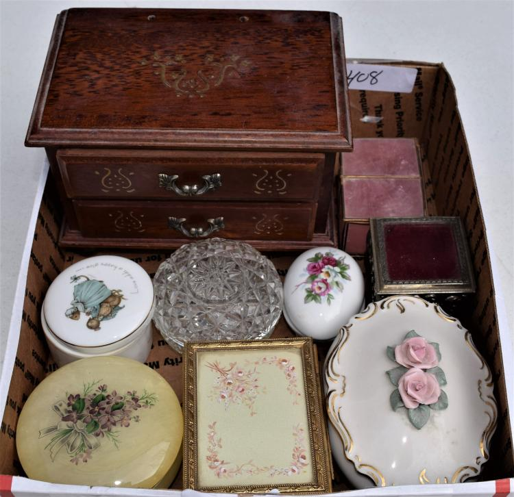 TRAY WITH 9 JEWELRY OR DRESSER BOXES