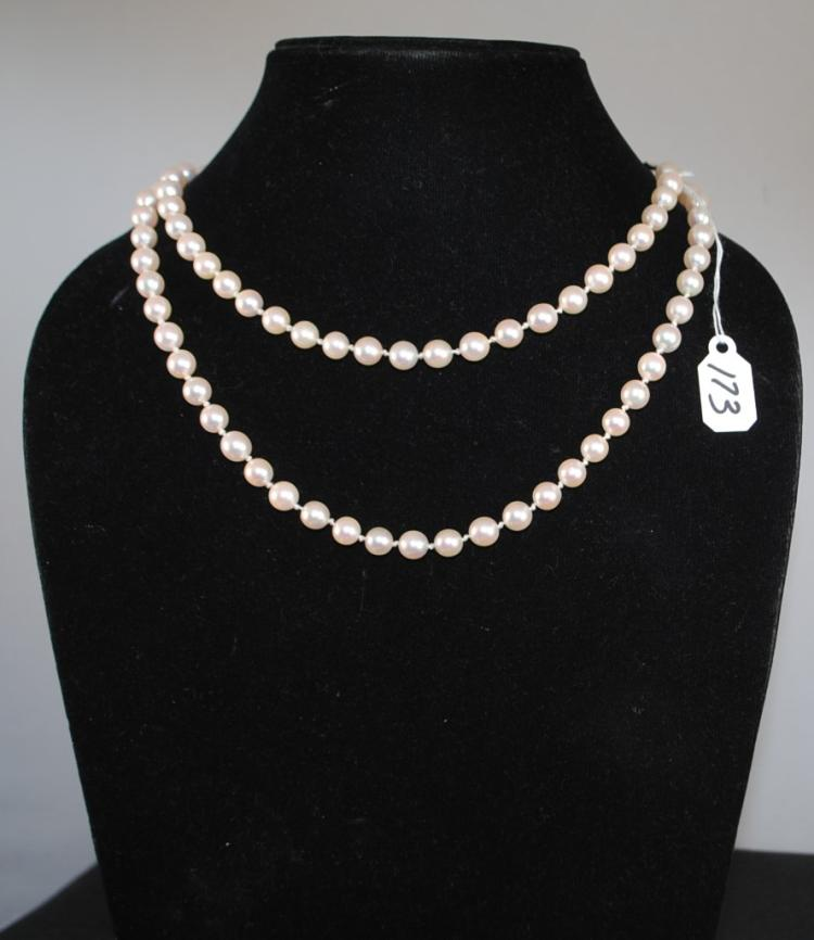 LADIES STRAND OF 6.0-6.5MM ROUND AA QUALITY CULTURED PEARLS. THE STRAND IS KNOTTED, 30 INCHES IN LENGTH AND COMES EQUIPPED WITH A SILVER CLASP. THE TOTAL RETAIL REPLACEMENT VALUE: $900.00. AND COMES WITH THE APPRAISAL FOR INSURANCE PURPOSES.