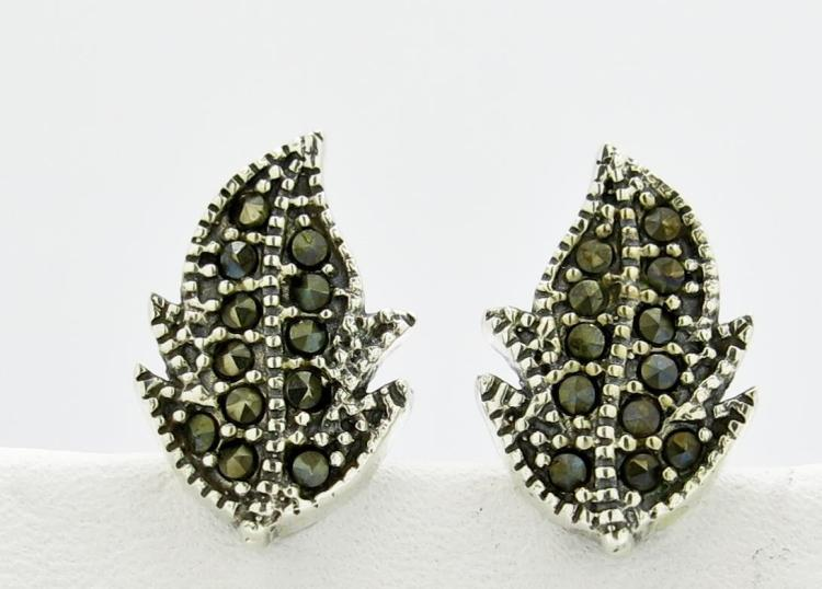 DESIGNER GENUINE MARCASITE .925 STERLING SILVER LEAF MILGRAINED STUD EARRINGS