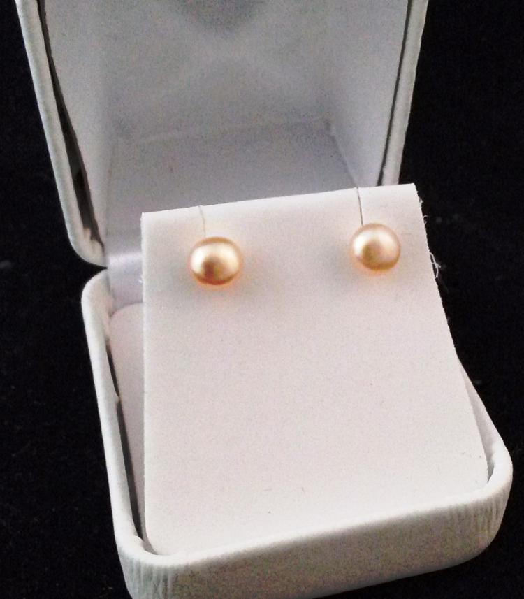 STAMPED .925 STERLING SILVER PEACH BUTTON PEARL EARRINGS