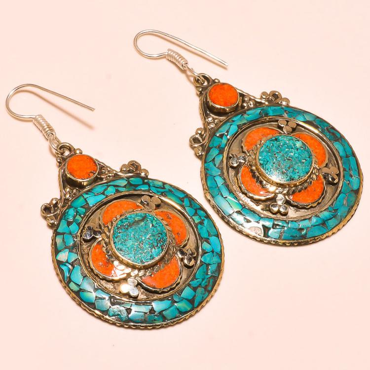 UNIQUE TURQUOISE & RED CORAL .925 SILVER TIBETAN EARRINGS