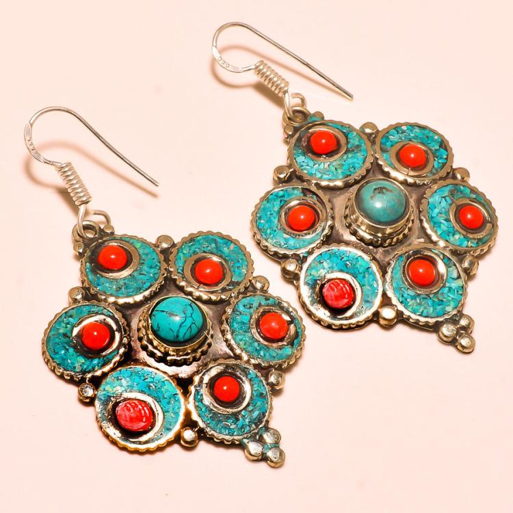 TURQUOISE & RED CORAL .925 SILVER TIBETAN EARRINGS