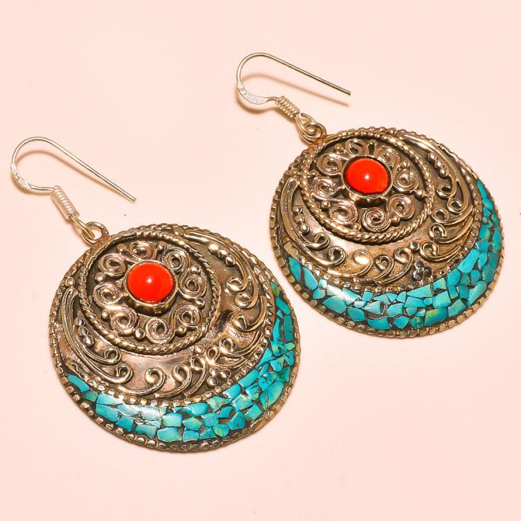 TURQUOISE & CORAL .925 SILVER TIBETAN EARRINGS