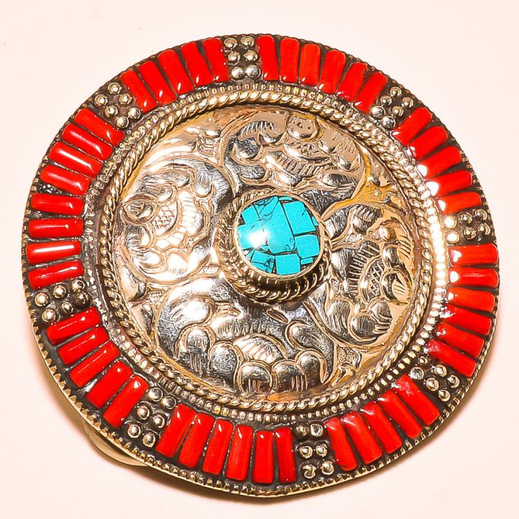 MEN'S TURQUOISE WITH CORAL .925 SILVER BELT BUCKLE