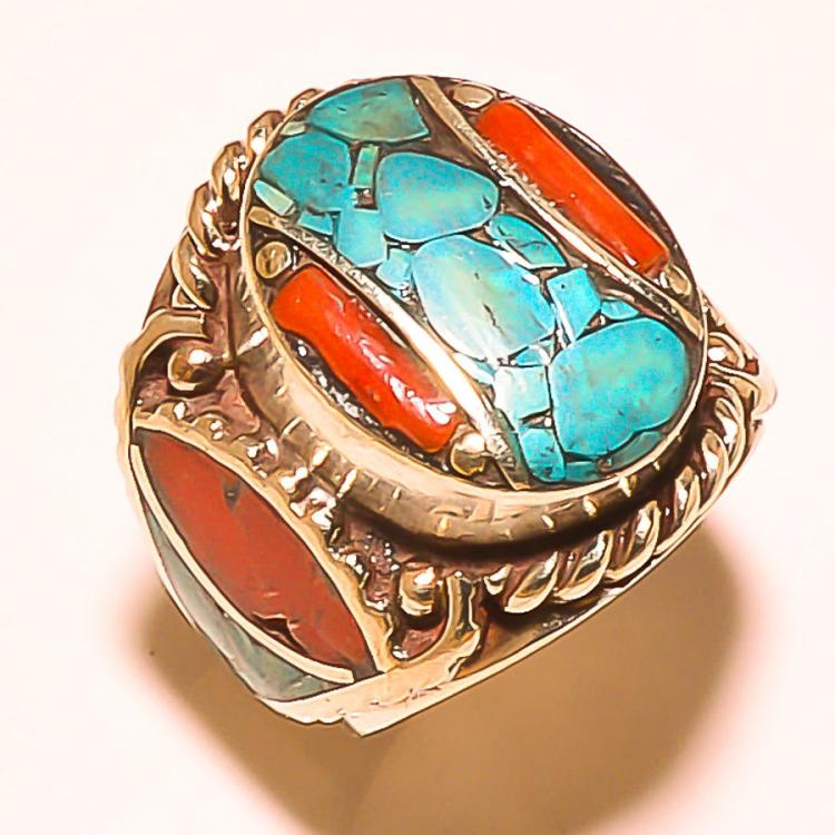 TURQUOISE AND RED CORAL TIBETAN .925 SILVER RING - SIZE 8.75