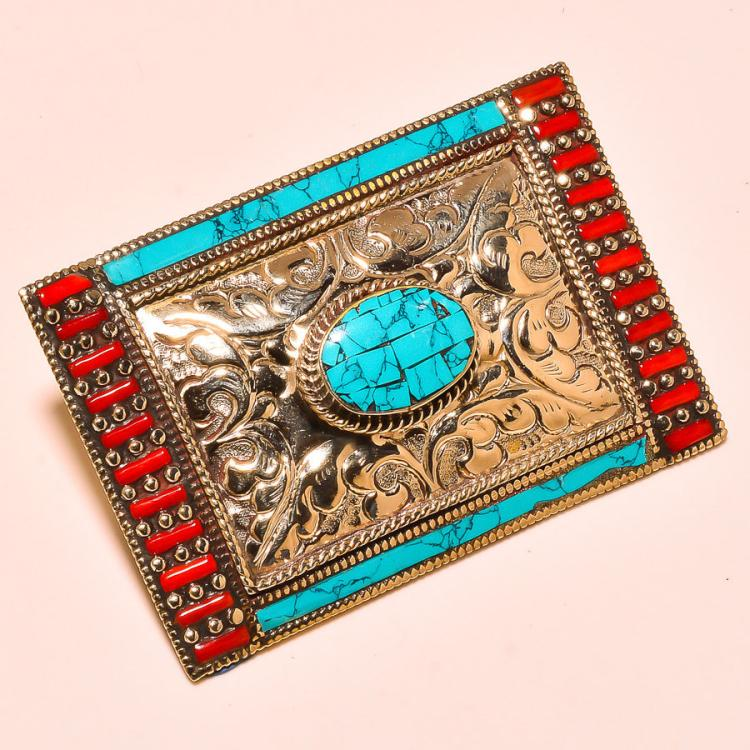 MENS RED CORAL AND TURQUOISE .925 SILVER BELT BUCKLE