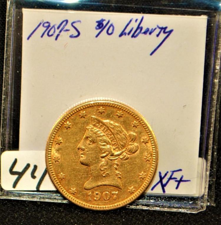 SCARCE 1907-S CHOICE XF $10 LIBERTY GOLD COIN