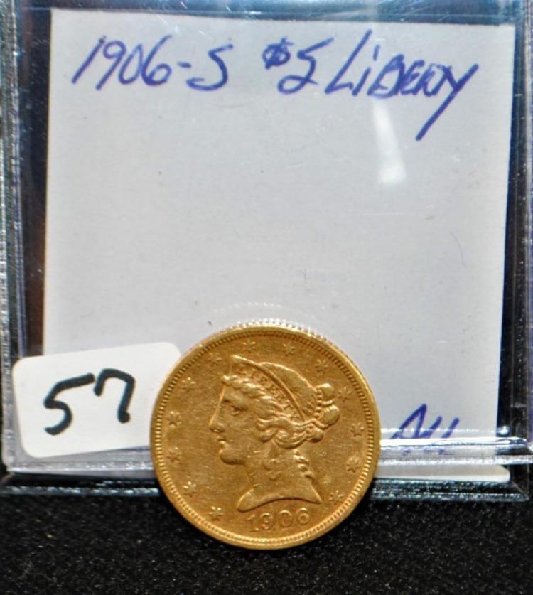 SCARCE 1906-S  CHOICE AU $5 LIBERTY GOLD COIN