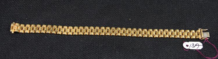 WONDERFUL 14K (STAMPED) YELLOW GOLD BRACELET. THE BRACELET IS 10MM IN WIDTH, IS EQUIPPED WITH A TONGUE STYLE CLASP AND IS 8.5 INCHES IN LENGTH. THE TOTAL METAL WEIGHT: 41.86 GRAMS. THE TOTAL RETAIL REPLACEMENT VALUE: $5,650.00. AND COMES WITH THE APPRAISAL FOR INSURANCE PURPOSES.  GREAT GIFT FOR CHRISTMAS!!!