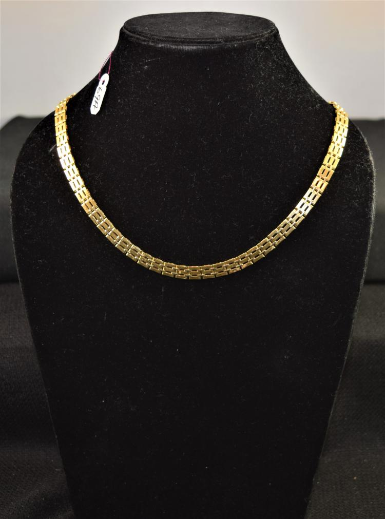 GREAT 18K 750 (STAMPED) YELLLOW GOLD NECKLACE. THE NECKLACE IS 6.5MM IN WIDTH, IS EQUIPPED WITH A LOBSTER STYLE CLASP AND IS 17 INCHES IN LENGTH. THE TOTAL METAL WEIGHT: 38.92 GRAMS. THE TOTAL RETAIL REPLACEMENT VALUE: $6,7750.00. AND COMES WITH THE APPRAISAL FOR INSURANCE PURPOSES.