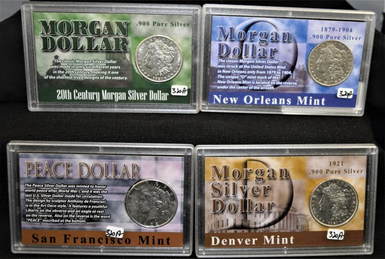 3 MORGAN AND 1 PEACE DOLLARS IN PLASTIC HOLDERS