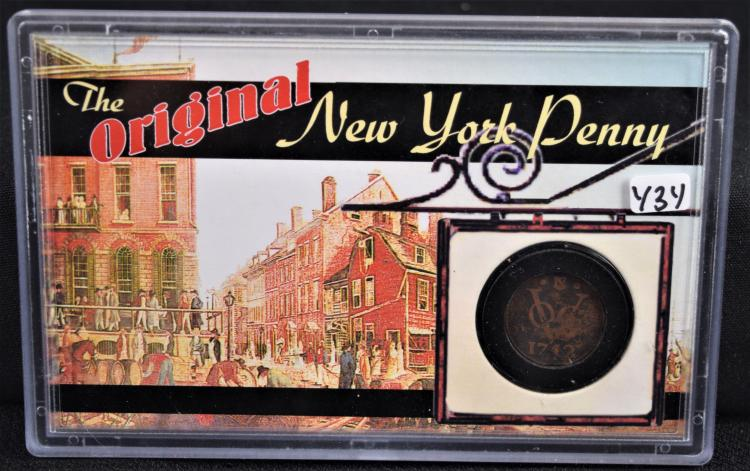 THE ORIGINAL NEW YORK PENNY IN PLASTIC HOLDER - THE REVERSE OF THE PLASTIC HOLDER SAYS - THIS AMAZING COPPER