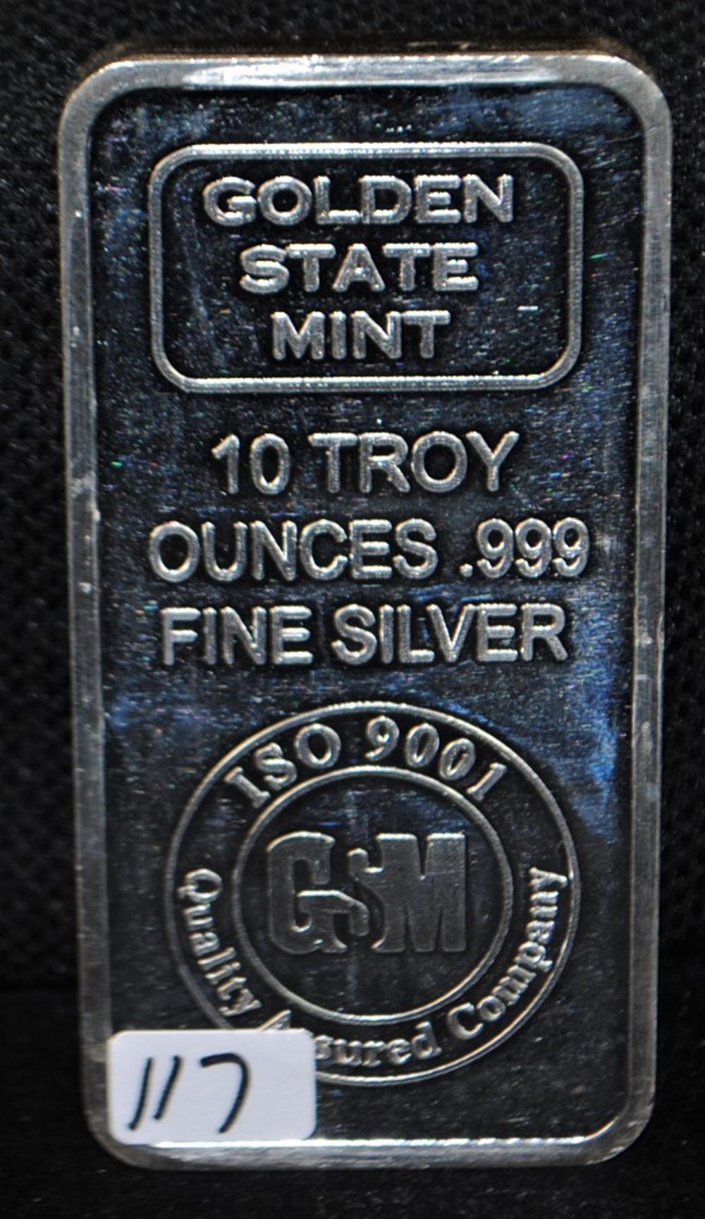 Golden State Mint 10 Troy Oz 999 Fine Silver Bar