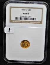 RARE 1853-0 (NEW ORLEANS) $1 GOLD - NGC MS64