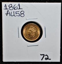 1861 AU58 $1 TYPE 3 GOLD DOLLAR - CIVIL WAR ERA
