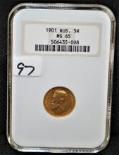 SCARCE 1901 5 RUBLE RUSSIAN GOLD COIN - NGC MS65