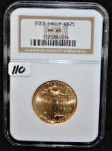 SCARCE 2002 $25 1/2 OZ GOLD EAGLE - NGC MS69