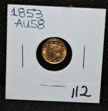1853 AU58 $1 TYPE 1 GOLD DOLLAR FROM SAFE DEPOSIT