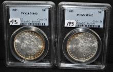 TWO 1885 MORGAN DOLLARS - PCGS MS63 & MS62