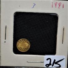 SCARCE 1881 CALIFORNIA 1/4 GOLD DOLLAR