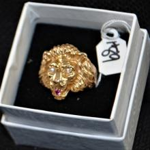 LION'S HEAD 14K YELLOW GOLD & GEMSTONE RING