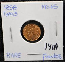 FLAWLESS VERY HIGH GRADE 1858 $1 TYPE 3 GOLD COIN