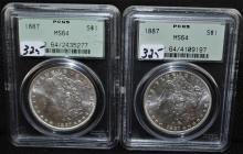 TWO 1887 MORGAN DOLLARS - PCGS MS64