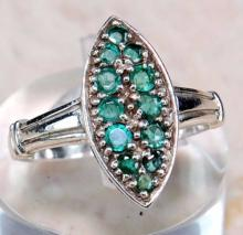 1CT EMERALD ART DECO STYLE .925 STERLING RING