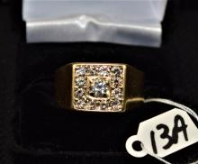 GENT'S 14K YELLOW GOLD DIAMOND CLUSTER RING