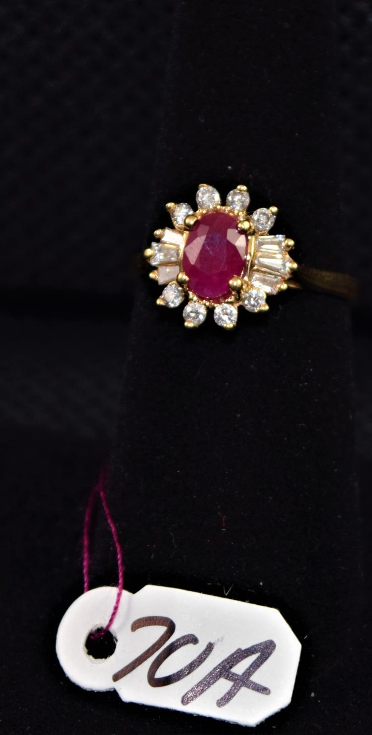 LADIES HALLMARKED 14K YELLOW GOLD RING CONTAINING ONE 4-PRONG SET